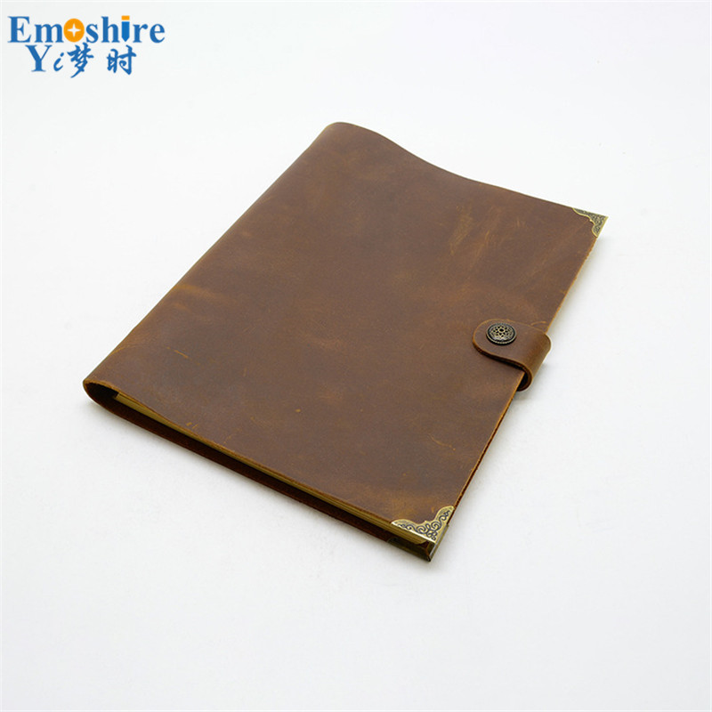 Wholesale Genuine Leather Brand Notebook A4 Leather Loose-leaf Notebook Notepad Wholesale Custom Logo for Business Gifts N082 first layer leather travel notepad retro leather notebook loose leaf diary with lock customized logo business gifts n131