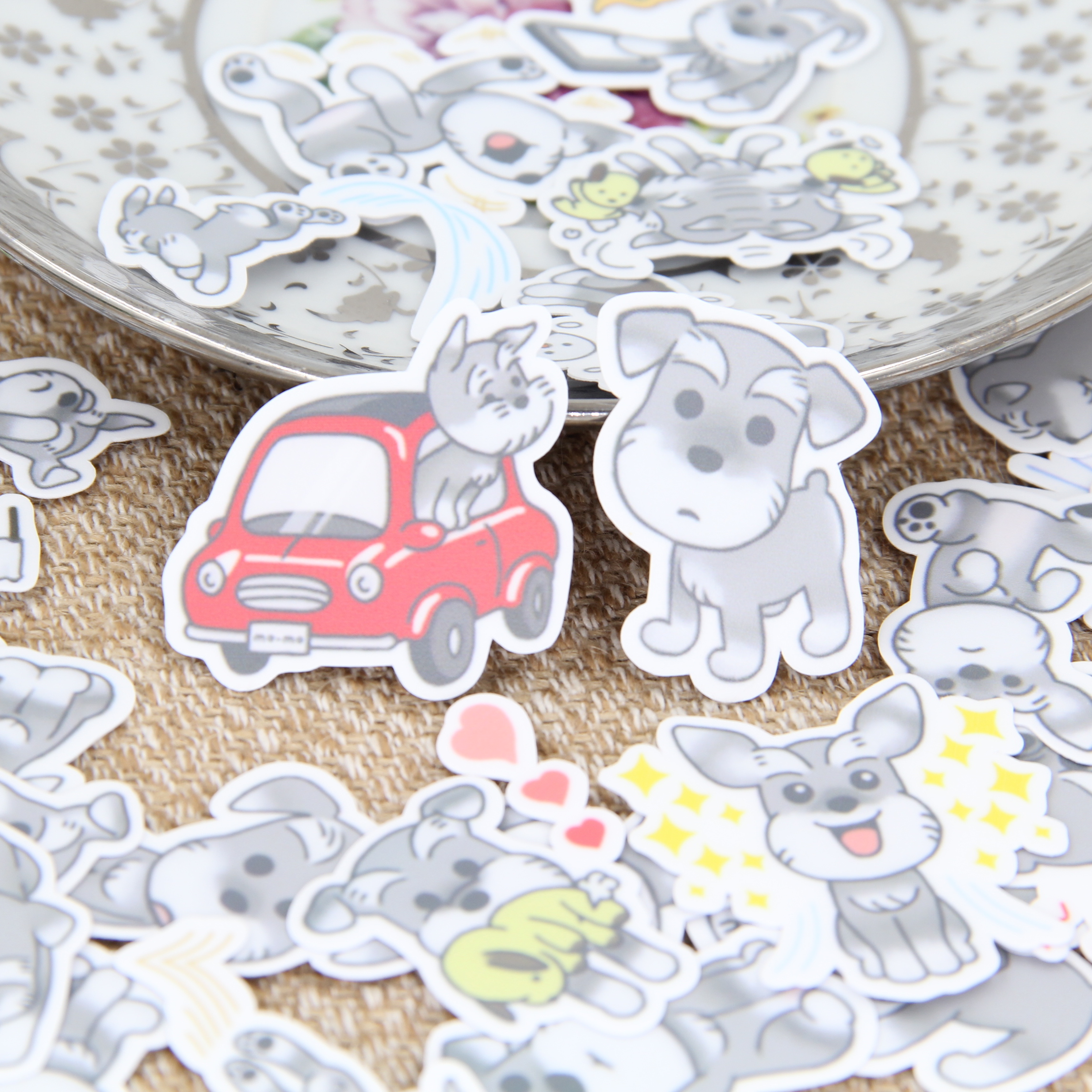 Cute little gray dog scrapbooking stickers diy craft for Sticker deco
