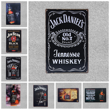 Retro Beer Brand Jack Daniels Whiskey Metal Poster Wall Art Painting Plaque For Bar Pub Home Decorative Jim Beam Tin Signs YN086(China)