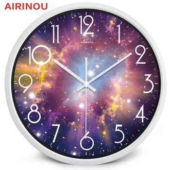 Airinou the Moon Starry Sky and Mars 3 Styles ,Glass&Metal Silent Movement Wall Clock,Children Room Museum Theme Park  Decorate 15