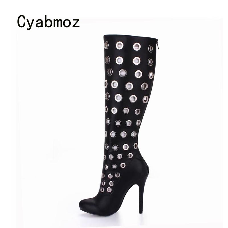 Cyabmoz Sexy Women Shoes Woman Knee High Heels Winter Boots Zip Hollow Ladies Party Club Shoes Zapatillas Botas Zapatos Mujer