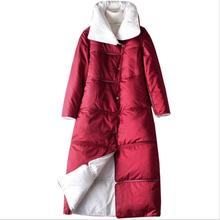 Winter Down Jacket Women 90% White Down Coat Female Long Thick Warm Both Side Snow Outwear Over Knee Parka Coat Jackets