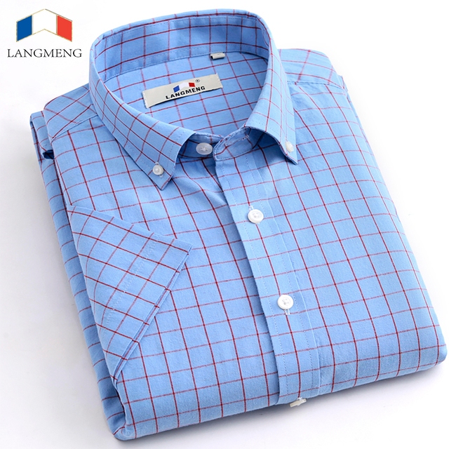 Langmeng 100% Хлопок Плед повседневная Рубашка Мужчины социальный рубашки 2016 Лето Сорочка Homme Мужская с коротким рукавом рубашки высокого качества