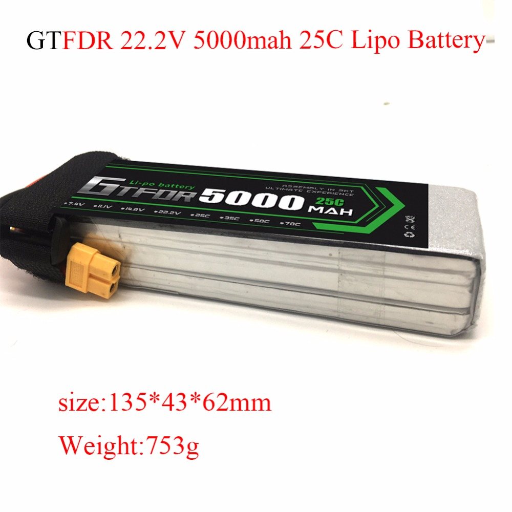 <font><b>Lipo</b></font> Battery <font><b>6S</b></font> 22.2V <font><b>5000mAh</b></font> 25C For RC Helicopter Drone Quadcopter Airplane Car Boat Tank Remote Control Toys Lithium Battery image