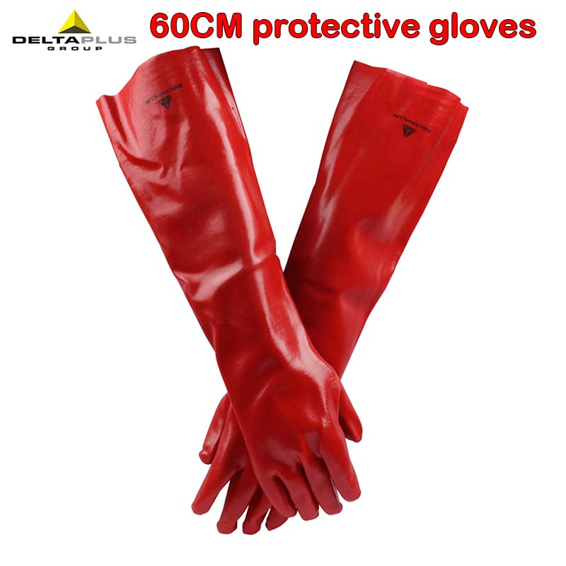 DELTAPLUS 60CM Safety Gloves Long PVC Anti-chemical Work Protective Gloves Cotton Lining Chemical Gloves