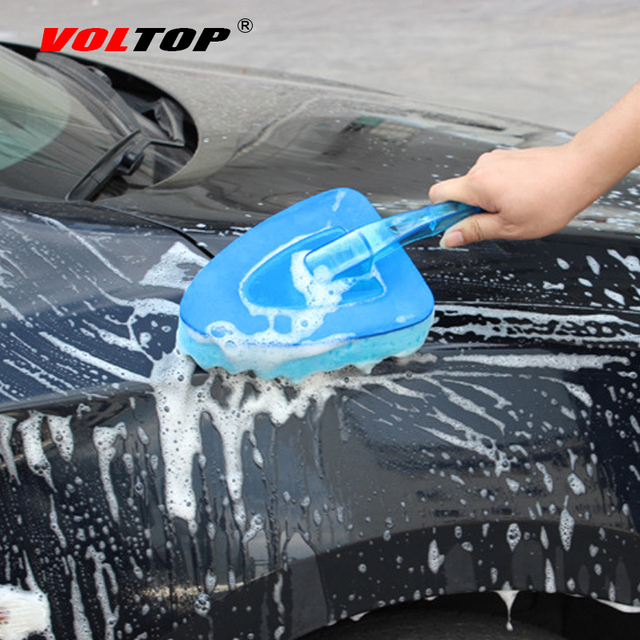 VOLTOP Cleaning Tool Washing Brushes Car Accessories Triangular Wave Sponge Brush Home Office Auto Soft Water Absorption