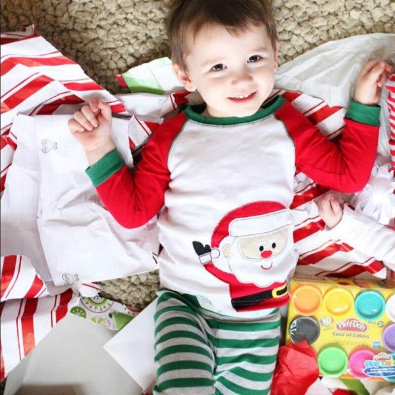 2Pcs Christmas Baby Kid Boy Girl Christmas Striped Nightwear Cotton Pajamas Set Sleepwear