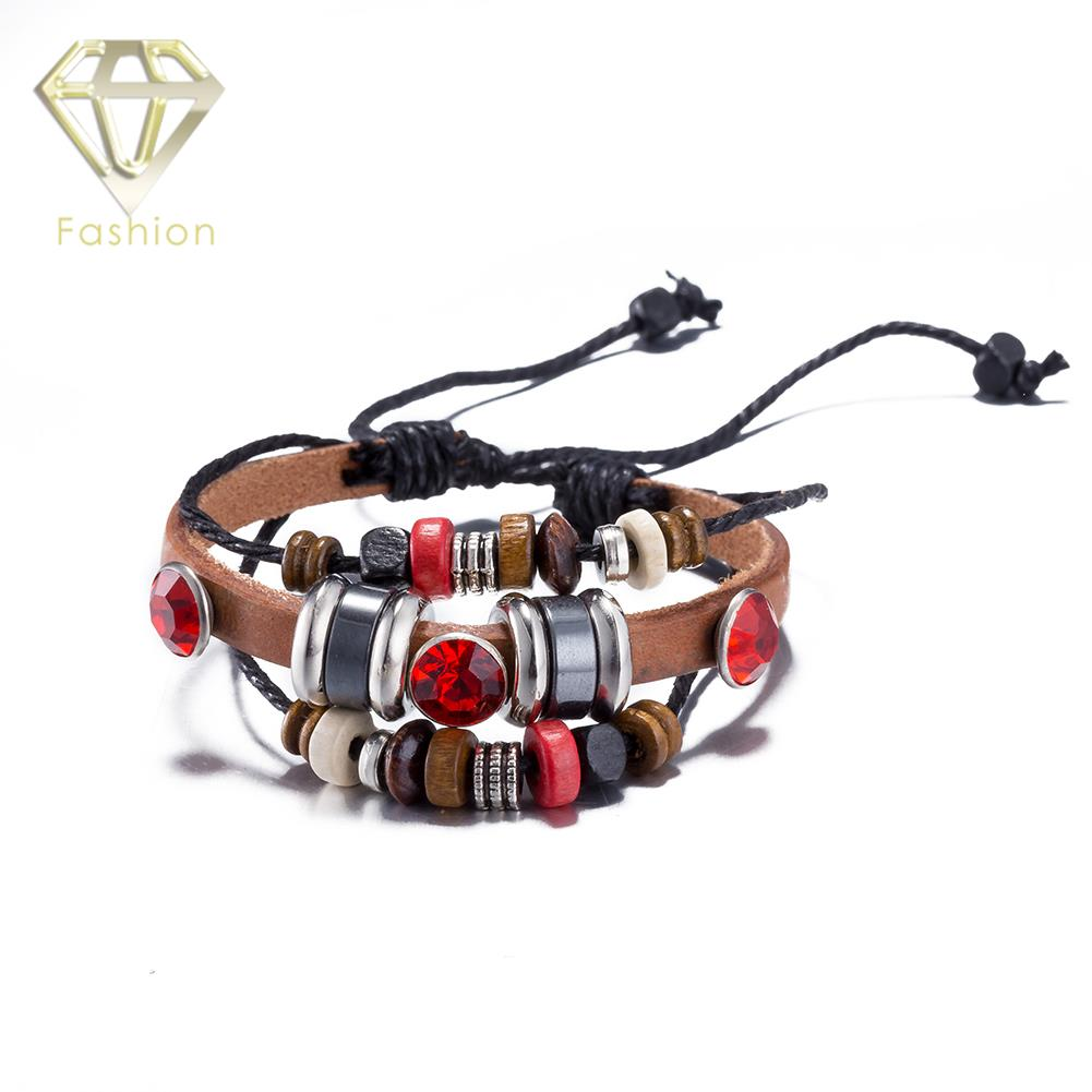 Leather Bracelets for Men Women Cute Red Style Infinity Charm Bracelet with Multi Small  ...