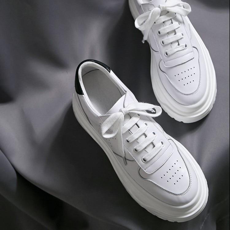 Calidad Planos Cuero Plana De Vaca Zapatos Zapatillas Deporte Blanco Plataforma 2018 Alta Cómodos Casuales Genuino {zorssar} Mujer FqzwIz