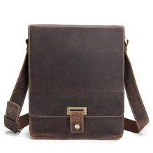 Handbag Genuine Cowhide Leather Man Shoulder Crossbody Retro Portfolio Flap Business Male Messenger Bag Gift Mochila Travel