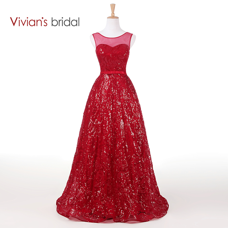 Vivian's Bridal Tank Sleeveless Sparkly Lace A Line Evening Dress Long Formal Evening Gown