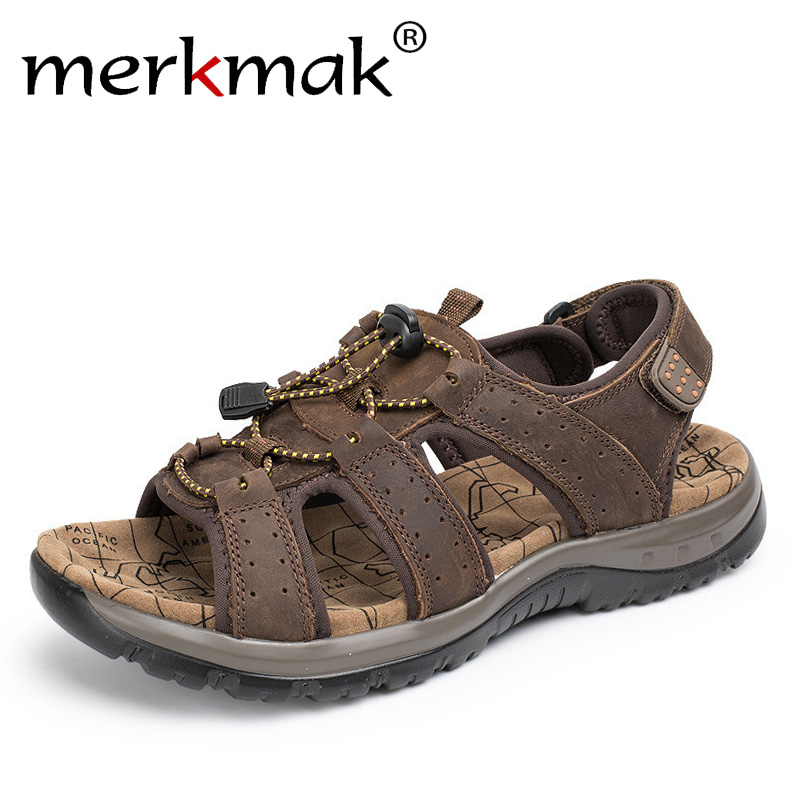 Merkmak Mens Sandals Summer High Quality Brand Shoes Beach Men Sandals Causal Shoes Genuine Leather Fashion Outdoor Waterproof