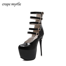 Купить с кэшбэком ladies pumps ankle strap heels 16CM sexy High Heels shoes Pumps women heels 2017 Party Shoes for Women Platform Pumps Shoes X265