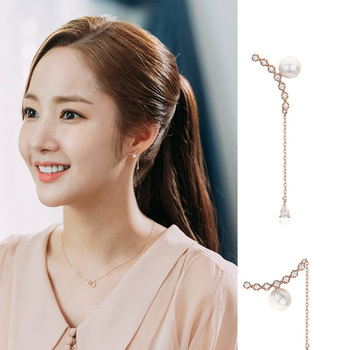 New Fashion Women Korean TV Star Zircon Cute Simulation Pearl Drop Earrings Elegant Rhinestone Long Line Pendientes Jewelry Gift
