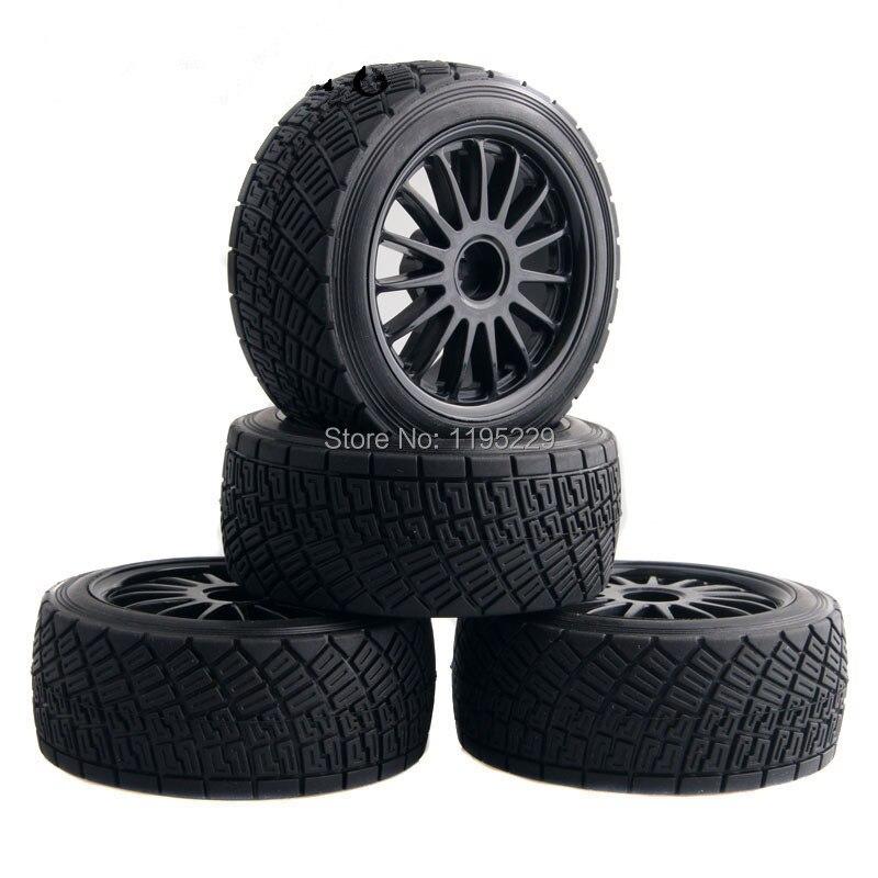 4 STÜCKE 80mm RC 1:10 On-Road Rally Auto Gummi Reifen Reifen Felge Schwarz/Weiß HPI WR8 & HSP 94177