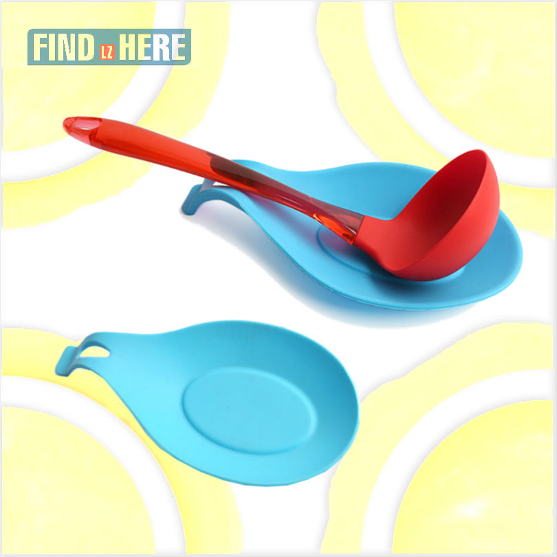 US $1.05 30% OFF|Spoon Rest Kitchen Cooking Utensil Holder Flexible  Silicone Ladle Spoon Holder Flatware Oval Shape for Stove Top,Fork,Tongs  *NF-in ...