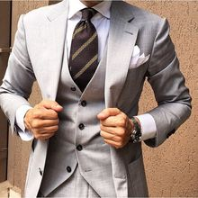 Latest Coat Pant Designs Light Grey Men Suit Slim Fit Skinny 3 Piece Casual Tuxedo Custom