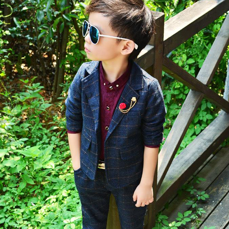 Elegant New Boy Suits Formal for Weddings England Style Man Child Plaid Formal Party Boys 2pcs/set(Jacket+Pants) Suits for boys