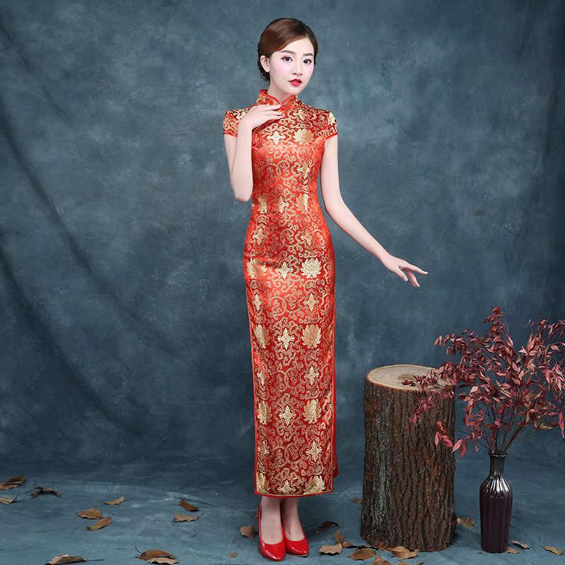 Cheongsam Плюс Размеры атласное платье жаккардовые 2018 новая невеста  красный цветок Qipao Китайский шелк Платья для 812b0dbd00ef0