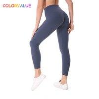 Colorvalue زائد حجم الهيب متابعة رياضة اللياقة السراويل المرأة الصلبة عالية مخصر رياضة الجري الجوارب بسط نايلون + دنة اليوغا السراويل