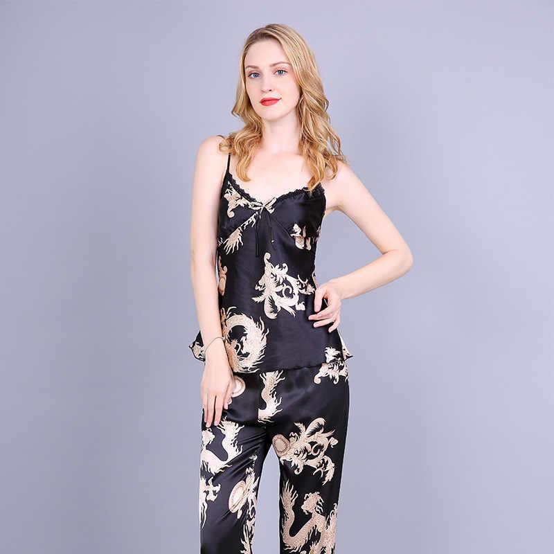 88e39ca2f9f ... Black Women 3PCS Nightgown Long Sleeve Rayon Sexy Pajamas Set Chinese  Vintage Dragon Nightie Robe Shirt Pant Pyjamas ...
