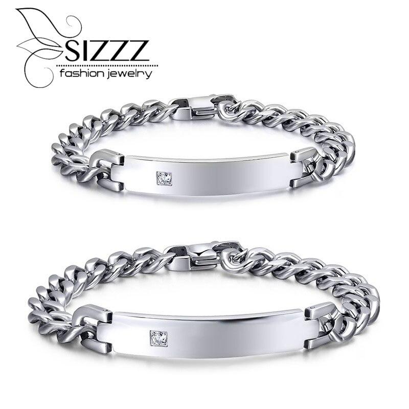 654d684525b 2015 más nuevos románticos amantes estilo dulce regalo plata de acero  inoxidable cadena de enlace cristal brillante smooth ID pulsera hotsale