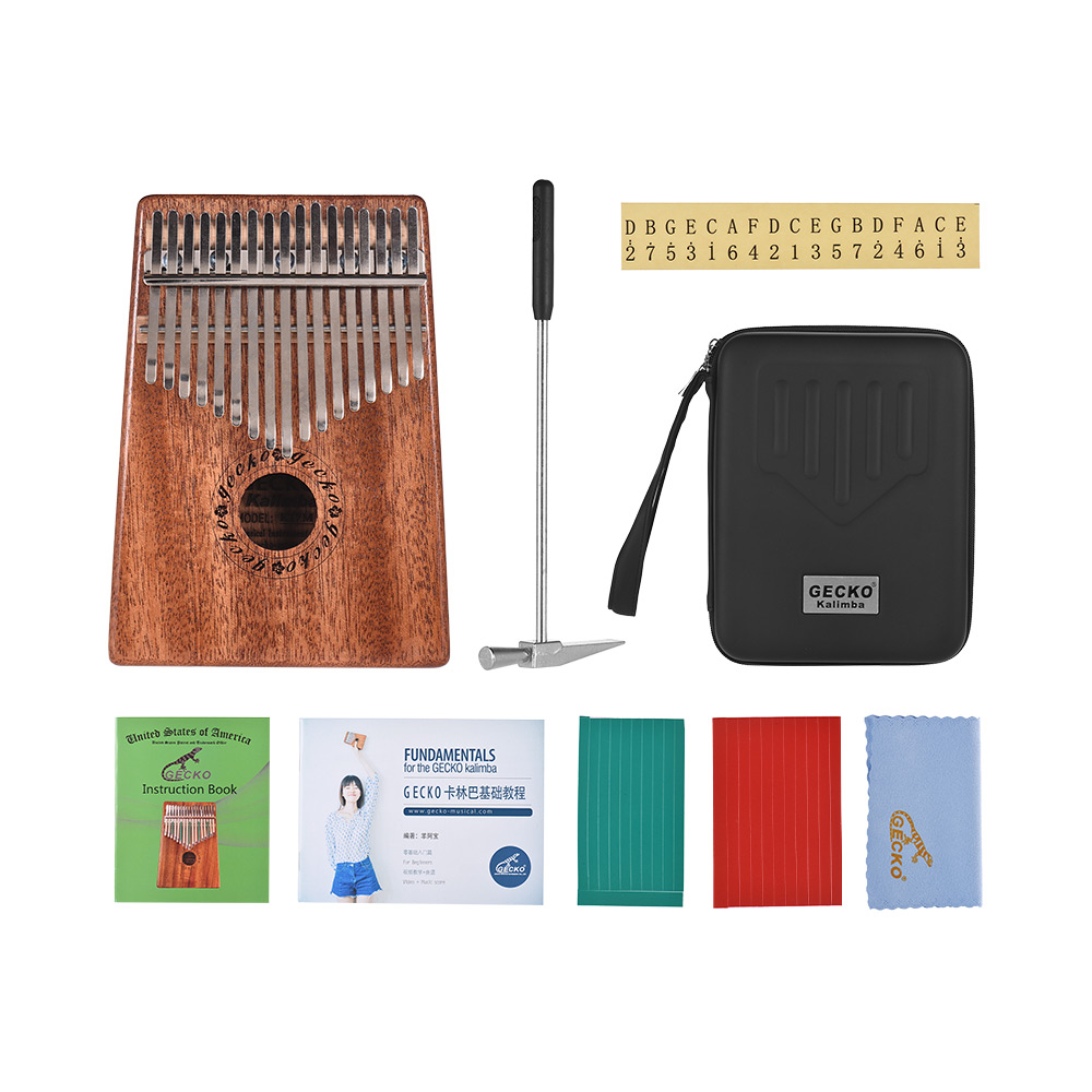 GECKO K17M 17-key Kalimba Thumb Piano Mbira Mahogany Solid Wood With Carry Bag Storage Case Tuning Hammer Music Book Stickers