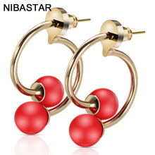 Fashion Copper Tube Beaded Red Jewelry Earrings With Needle Hot Selling Accessories Circle Earring For Women