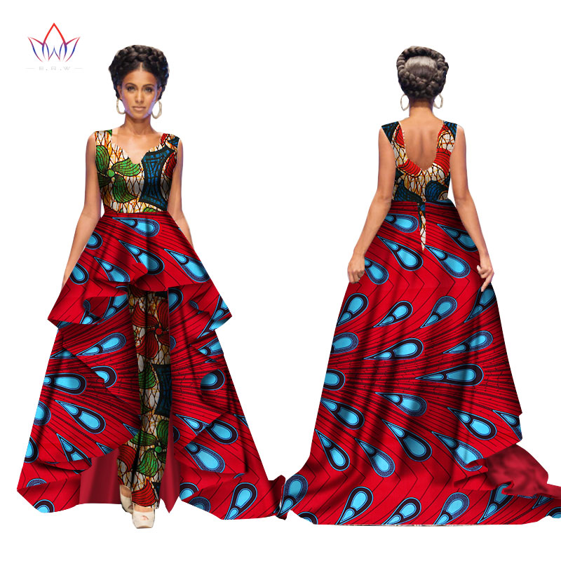 African 2017 Summer Bazin Elegant Jumpsuits for Women Maxi Sleeveless Romper And Long Dashiki Pants Plus Size BRW WY2117