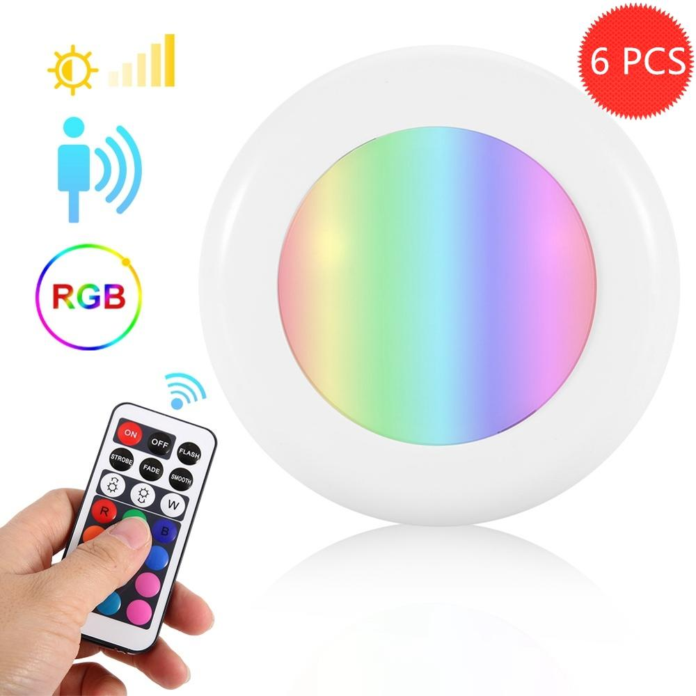 BTgeuse Night Lights Wireless Ceiling Lamp With Remote RGB Mood Light Led Bathroom Light Cordless Hallway Lighting Dimmable