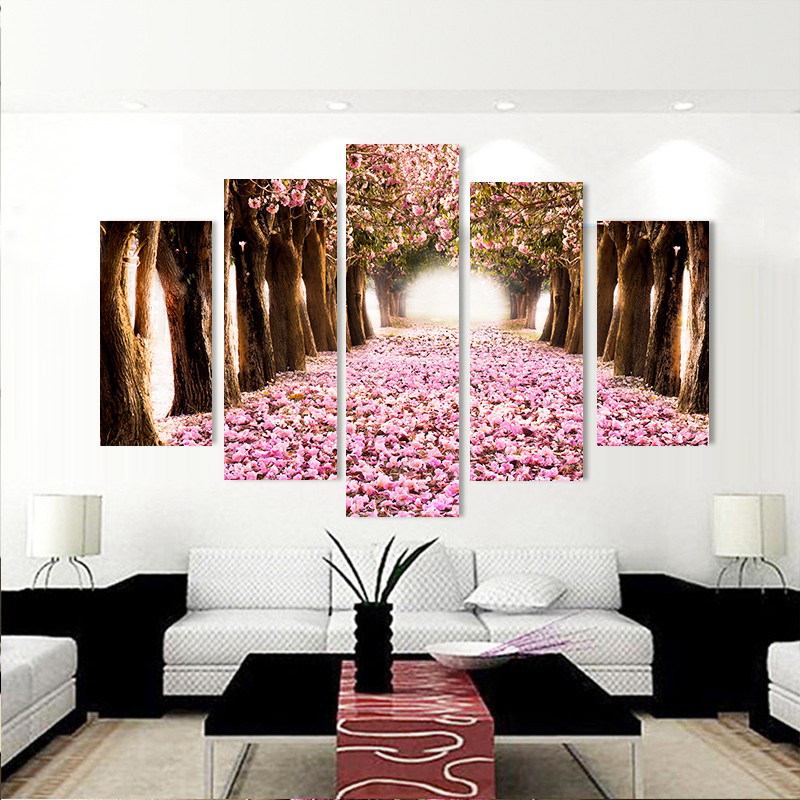 Lovely 5 Piece Forest Modern Wall Art High Definition Screen Printed Images  Picture Living Room Decoration Pink Flower 5 Pieces Picture In Painting U0026  Calligraphy ...