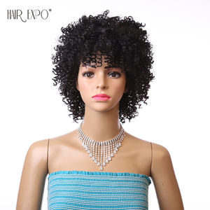 Image 4 - 6inch Short Kinky Curly Wig Afro Synthetic Wigs African Hairstyle For Black Women Hair Expo City