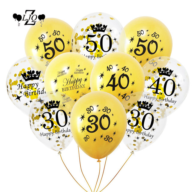 ZLJQ 10pcs Black Gold Printing Balloons Happy Birthday Decorations DIY 30 40 50 Years Old Letters