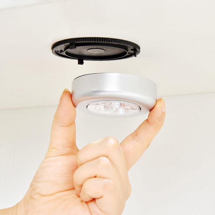 Cordless Push Tap Touch Stick Night Light Round Lamp Battery Powered Wall Cabinet Closet Wardrobe Hallway Kitchen Home