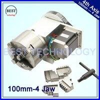 4 Челюсти 100 мм ЧПУ 4th оси Передаточное отношение 6:1 ЧПУ делительная головка/вращение оси комплект Nema23 для станок деревообрабатывающий