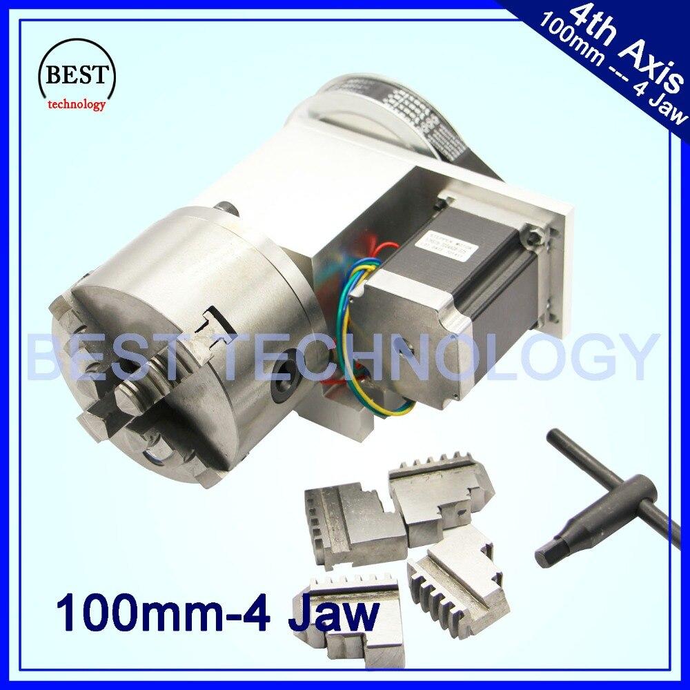 4 mandíbula 100 milímetros CNC Eixo relação de Redução 6:1 CNC dividindo cabeça 4th/kit Nema23 de Rotação de UM eixo para carpintaria máquina de gravura