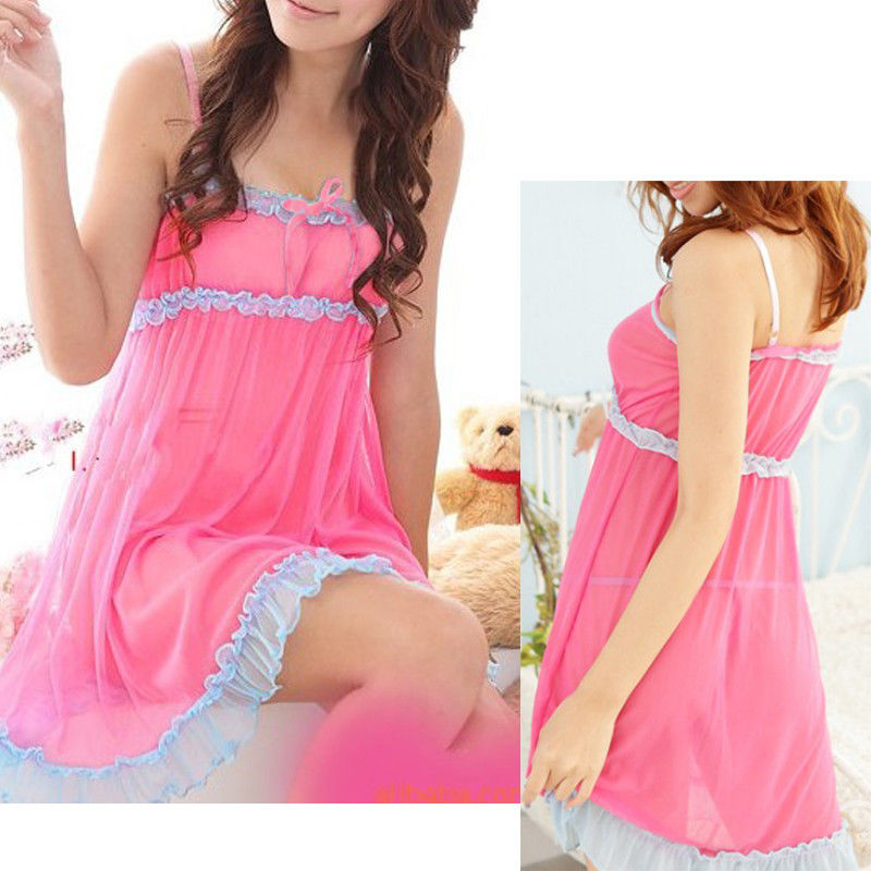 <font><b>2018</b></font> New Women Lace Babydolls Sleepdress Princess Chemises Nightwear Sleepwear <font><b>Sexy</b></font> intimates Bow Lingerie Dress G-String image