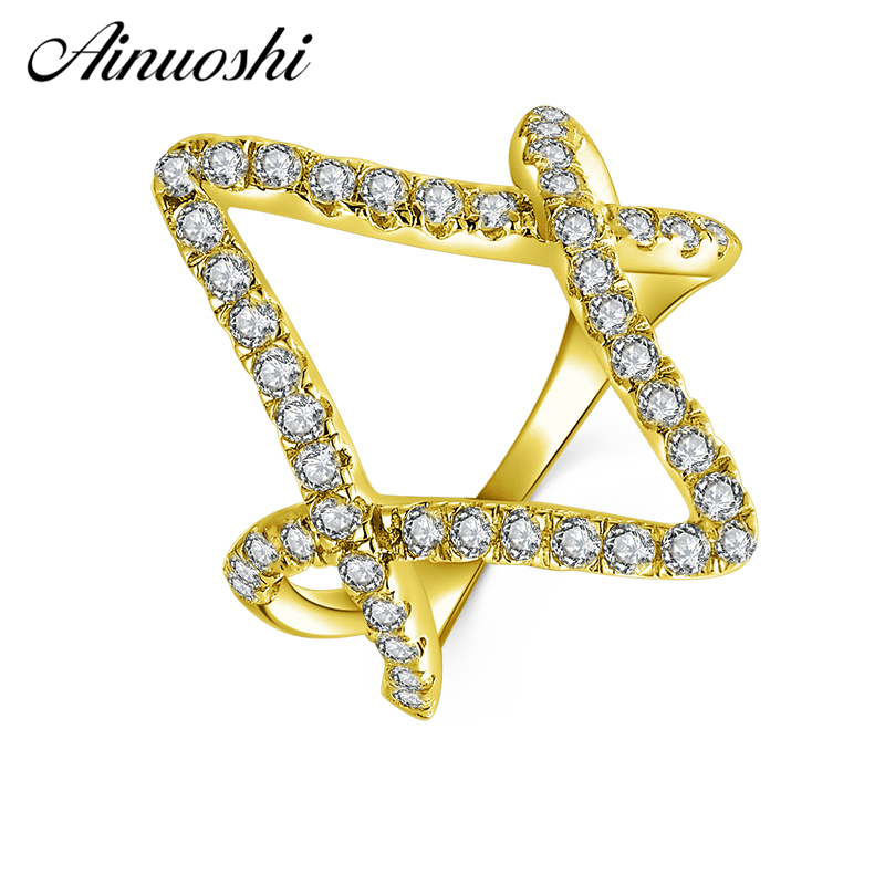 AINUOSHI 10K Solid Yellow Gold Diamond Shape Ring Band Double V Shape Hollow Ring Bague Wedding Engagement Jewelry for Women Men pair of stylish solid color hollow out knot shape alloy cufflinks for men