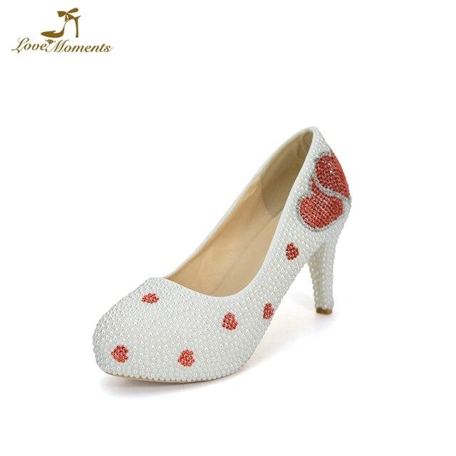 Lover Heart Shape Red Rhinestone White Pearl Wedding Shoes Sapatas do  casamento Spring Women Pumps Custom Made Bridal Dress Shoe 1f206fc0e86f
