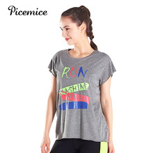 Picemice Quick Dry Sports Fitness T-shirt Women Gym Short Sleeve Elastic Workout Tops Sportswear Running Shirts Yoga Clothing