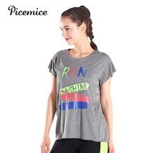 купить Picemice Quick Dry Sports Fitness T-shirt Women Gym Short Sleeve Elastic Workout Tops Sportswear Running Shirts Yoga Clothing дешево