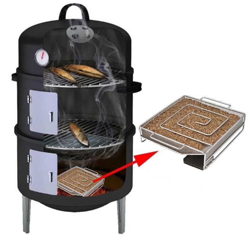 콜드 연기 생성기 바베큐 액세서리 스틸 바베큐 그릴 요리 도구 흡연자 연어 베이컨 물고기 미니 애플 우드 칩 흡연 상자