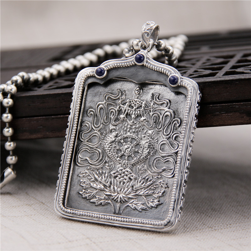 Здесь продается  Silver Snapper S925 Sterling Silver Buddhist Lapis Lazy Black Pendant Pendant Male Female Thangka Retro Thai Silver Pendant  Ювелирные изделия и часы