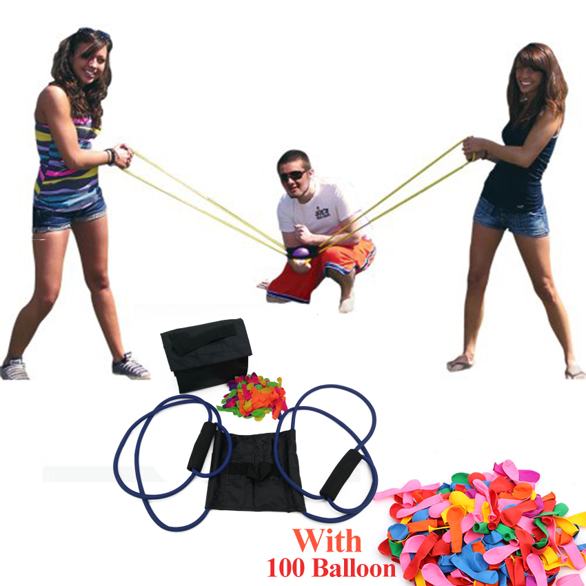 NEW Water Balloon Launcher Slingshot Outdoor Toys Water Gun Beach Water Fight Snowball Fight Random Color with 100Pcs Balloon