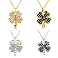 KS86 2013 New Fashion Item 18K White Yellow Gold Plated Crystal Paved Four Leaf Clover Pendant