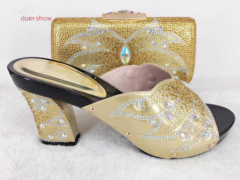 doershow 2017 New Italian matching shoes with bags set fashion gold African shoe and bag set for party!! Hlu1-41