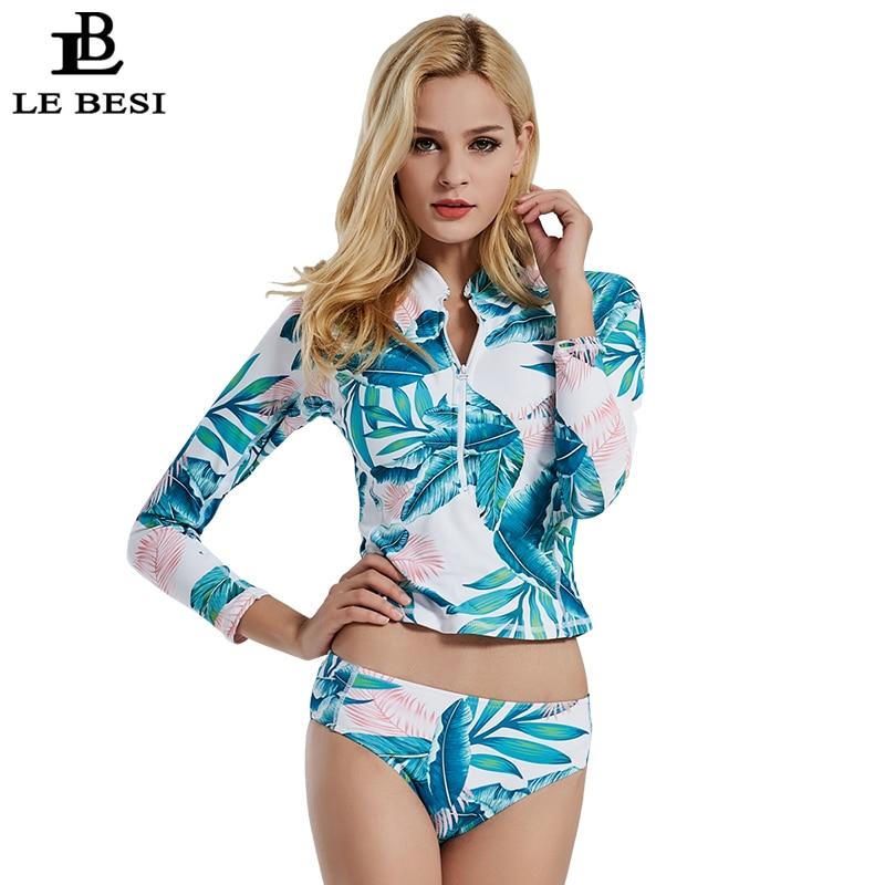 LE BESI 2018 New Long Sleeve Women Bikini Set Bandage Bikini Zipper Swimwear Brazilian Swimsuit Two Piece Bodysuit Bathingsuit