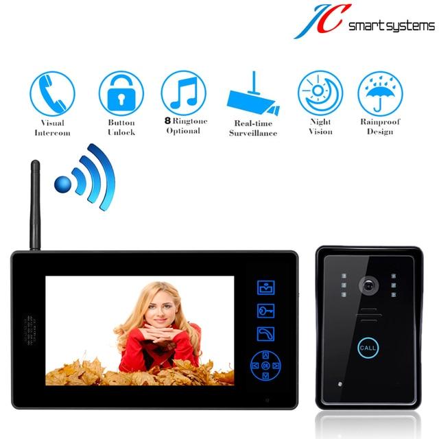 "New Arrival! Wireless door intercom video dorbell interfone deurbel met camera with Touch key 7"" inch TFT color screen touch"