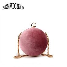 BENVICHED Mode Velour Lederrund Frauen Taschen Crossbody Tasche Viantage Damen Umhängetaschen Mini Ring Handtaschen R146