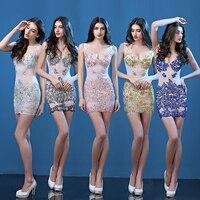 Plus Size 5 Colors Summer Lace Dresses Women's Nightclub Dress Lady Slim Sexy V-Neck Flower Design Party Prom Singer Wear
